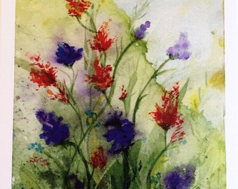 """Original Watercolor Blank Note Cards Set/4, with envelopes, thank you cards, 5.25""""x6.75"""" made from my original watercolor painting"""