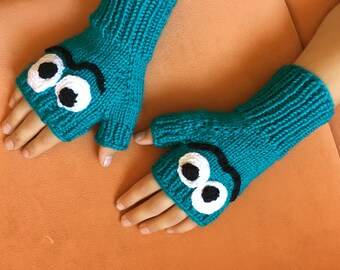 Blue knitted fingerless gloves comfortable and warm