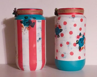 Set of 2 hand painted jars