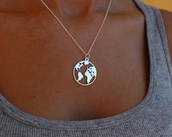 World Necklace, Globe Necklace, Dainty Necklace, World Map Necklace, Necklace for Women, Map Necklace, Delicate necklace, Tiny Necklace