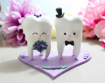 Molar Teeth wedding cake toppers bride and groom - dentist dental hygienist odontologist oral surgeon funny cute figurines purple pink red