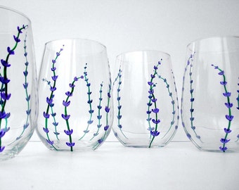 Lavender Wine Glasses - Set of 2 Hand Painted Stemless Glasses with Purple and Green Flowers