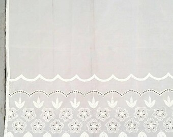 """Small White Embroidered sheer window curtain. Vintage White Lace Window Curtain. Sheer window curtain panel. White Cafe Curtain. 30 x 30""""."""