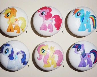 MY LITLE PONY! 6 Designs to Choose from! White Hand Painted 40mm Wooden Knobs Great Girls Birthday Gift Idea!