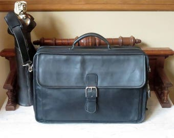 Dads Grads Sale Coach Double Zip Organizer Briefcase Laptop Carrier In Black Leather With Silver Nickel Hardware- Style No 0537- EUC