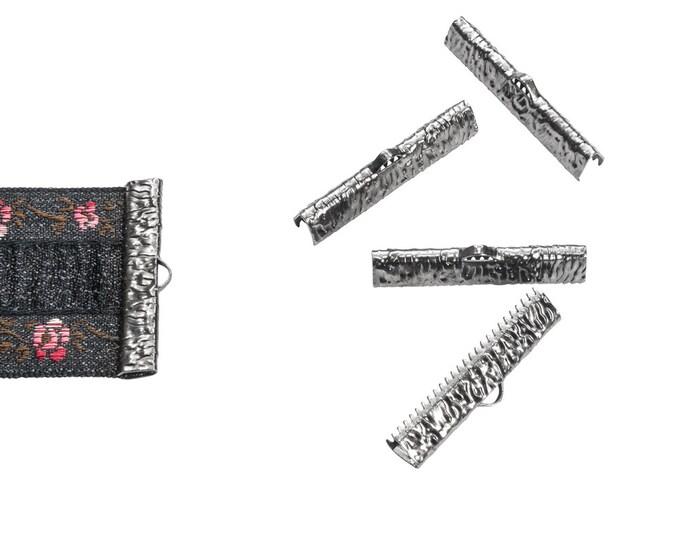 16 pieces  30mm ( 1 3/16 inch ) Gunmetal Ribbon Clamp End Crimps - Artisan Series