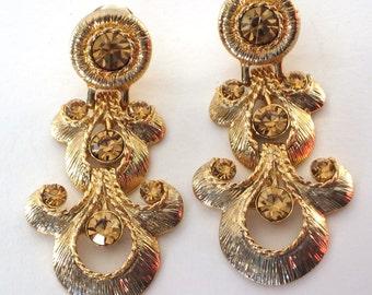 Vintage CN Earrings Clip On Earrings Gold Amber Aurora Borealis Crystals