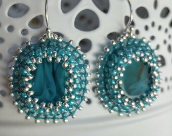 Teal and Silver Bead Embroidered Earrings