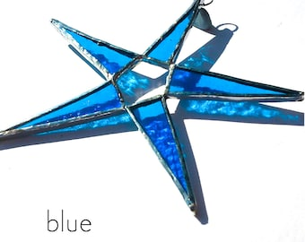 Blue Stained Glass Star Suncatcher