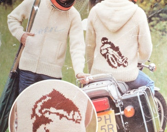 Men's hoodie hooded jacket pattern motorbike fishing cardigan sizes 36 to 42 inch knitting pattern pdf INSTANT download 1980s