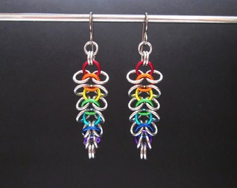 Rainbow Earrings, Chainmail Jewelry, Hypoallergenic Earrings, Chainmaille Earrings, Tapered Earrings, Rainbow Dangle Earrings