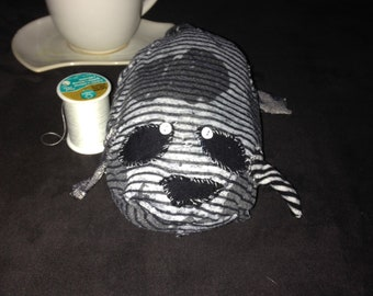Mysterious Creature Tim Burton Inspired Recycled Cloth Plushie Stuffed Animal  Goth Black and White Soft Toy