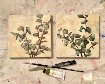 Pair of Original Botanical Oil Paintings