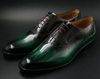 Leather man patina shoes, wooden, green, Oxford, hand painted (made in Italy)