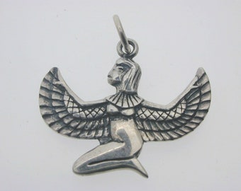 Isis-Ma'at, Lady of Truth. silver pendant Egyptian winged goddess 3.4 grams 25mm