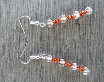 Dangling earrings, seed beads