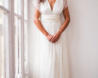 Long white dress with tulle, Off white dress with polka dot tulle, White dress bohemian, White long dress, Wedding infinity dress tulle,