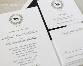 Horse Wedding Invitations, Horse Race Wedding Invitations, Equestrian Wedding Invitations, Wreath Wedding Invitations, Preppy Invitations