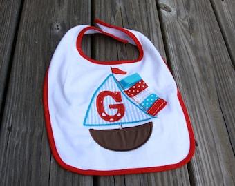 Personalized Sailboat Letter Bib OR burp cloth