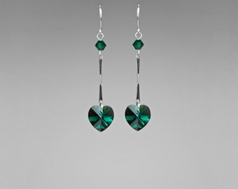 Emerald Swarovski Crystal Earrings, Drop Earrings, Green Crystal, Formal Earrings, Statement Earrings, Crystal Hearts, Special Occasion