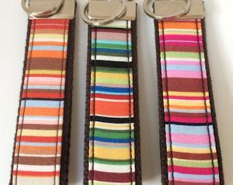 Handmade Paul Smith Stripe Fabric Key Fob - Key Chain - Key Ring - Key Holder