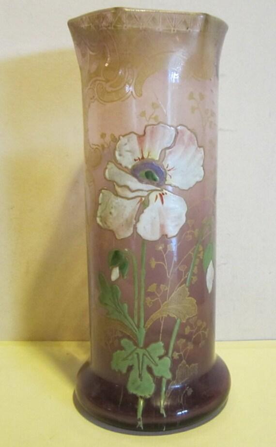 Antique French Legras Vase Enameled Flowers Poppy St Denis