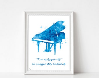 Piano print, poster, piano, music illustration, poster, music and quote gift fathers day, gift idea