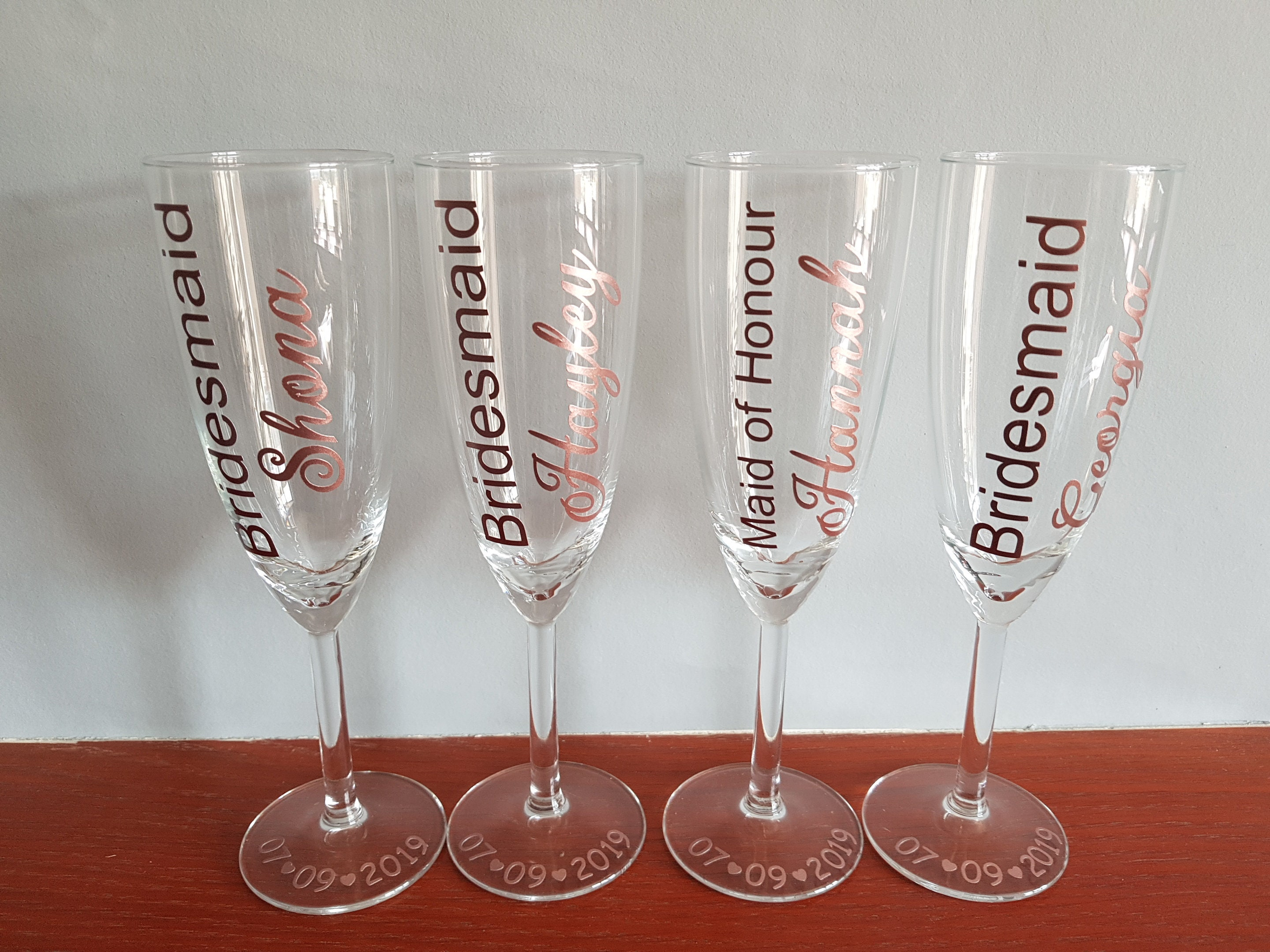 Rose gold champagne flutes personalised champagne flutes
