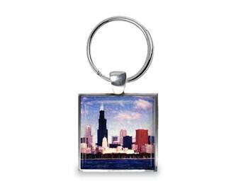 Color Chicago Skyline - Glass Photo Keychain - Handmade