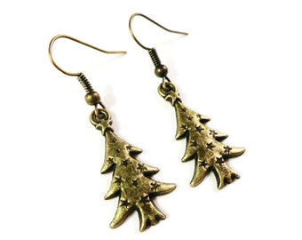 Christmas Tree Earrings, Bronze Charm Earrings, Antique Brass Drop Earrings, Holiday Jewelry, Dangle Earrings, Women's Jewelry, Gift Idea