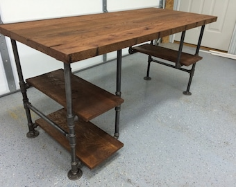 Computer Desk, Reclaimed Wood Desk, Office Desk, Table, Rustic Barnwood Table with 3 shelves