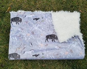 Woodland blanket-bison blanket-elk blanket-baby shower gift-woodland nursery-whimsical nursery-horse blanket
