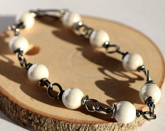 White Glass Bracelet, Oxidized Sterling Silver Wire Wrapped Bracelet, Luminous White Bead Bracelet, Czech Glass Bracelet Glass Bead Bracelet