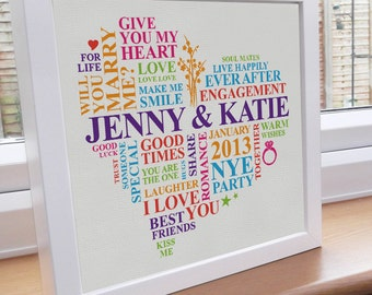 Framed engagement print. Gay engagement gift. Lesbian engagement. Personalised word art gift. Unique engagement present. Rainbow pride.