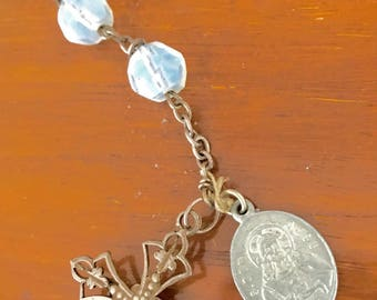 Old Rosary with silver and faceted opaline glass, Catholic religion