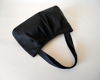 Black tote bag, black handbag, small tote bag, fabric handbag, black canvas bag