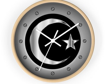 Moon Crescent Star Wall Clock Silver