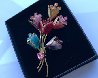 Large jewel toned vintage late 1940s ro 1950s flower spray brooch with rhinestones and cold painted enamel - unsigned