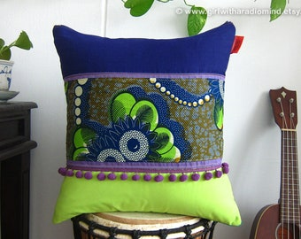 Boho Pillow African - Tribal Purple Lime Green Cushion Cover - Unique Ethnic Home Deco