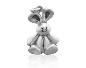 Sterling Silver Bunny Charms for Bracelet - Charm Bracelet Charm Necklace - Mothers Day Gift - Rabbit Jewelry