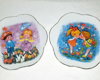 Vintage Big Eyes Plates,Children Collectors Plate,Boy and Girl Plates,Porcelain Collectible Plate,Japan,Giftcraft,Noritake,Kitsch,MOD,1960s