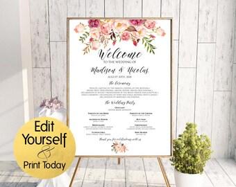 Wedding Program Poster, Wedding Program Sign Template, Printable Wedding Program, Program Sign, Boho Program, Wedding Poster, Template, W1
