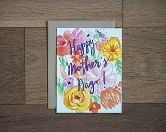 Mother's day card with flowers - hand painted florals - hand lettering - purple - yellow - orange -pink
