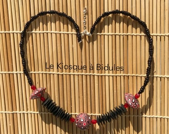 Collier - Perles fimo millefiori - Noir, rouge et blanc.