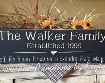 Personalized Family Sign w/ Established Year And Names, Family Sign, Family Gift, Wooden Sign, Personalized Sign, Family