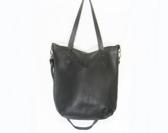 Handmade black leather tote bag