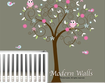 Vinyl Wall Decal Sticker-Tree with Flowers Birds-Kids-e33