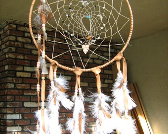 Moonstone Large 12 inch Dream Catcher, honor mother earth and father sky.
