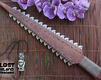 Hawaiian Sword Style Wood Lei-O-Mano - Hand Weapon - Tiki Decor