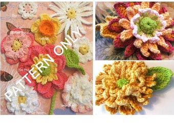 Flower Crochet PATTERNS - Crochet Mnums plus Collection of 8 Crocheted Flower Appliques - Instant Download